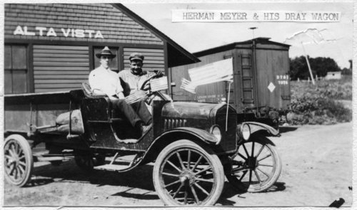 Herman Meyer and his dray wagon, Alta Vista, Kansas - Page