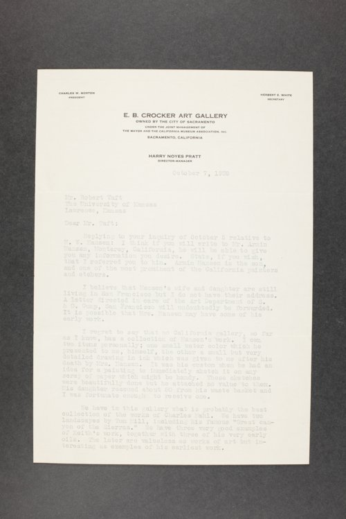 Robert Taft correspondence related to frontier artists, Hansen - Hutton - Page