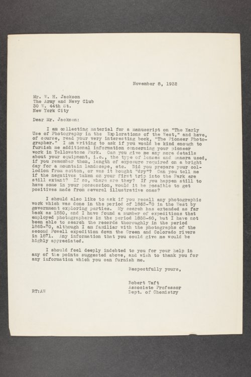 Robert Taft correspondence related to frontier artists, Jackson - Leigh - Page