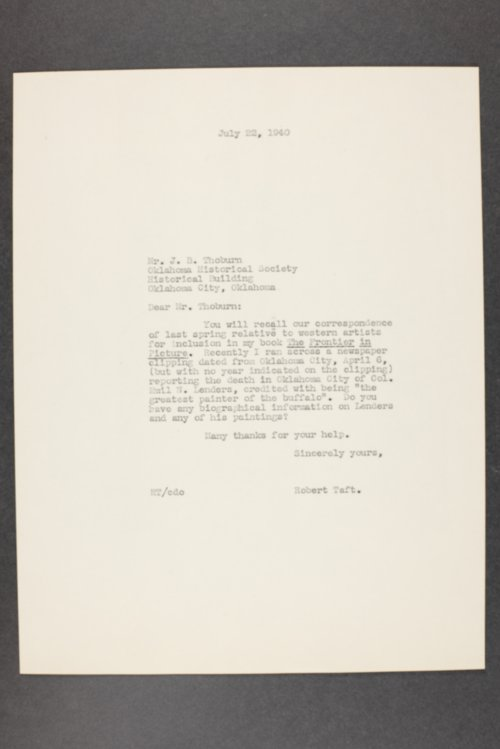 Robert Taft correspondence related to frontier artists, Landers - Metcalf - Page