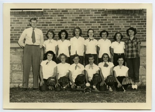 Lee Dodson with girls softball team, Tecumseh, Kansas - Page