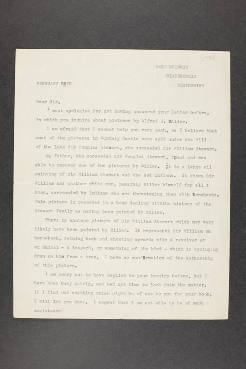 Robert Taft correspondence related to frontier artists, Miller - Mollhausen - Page
