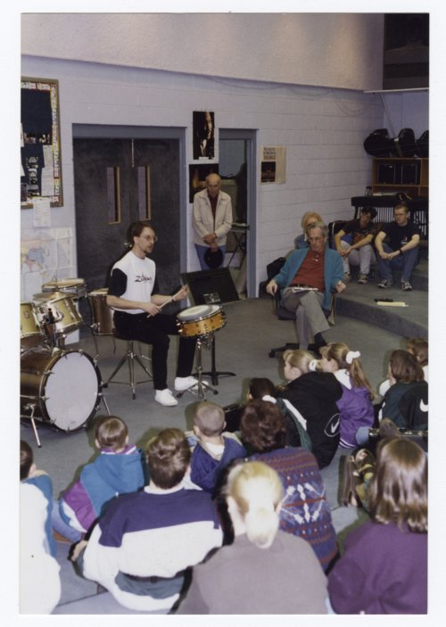 Todd Strait conducting a workshop at the Clay Center Community High School in Clay Center, Kansas - Page