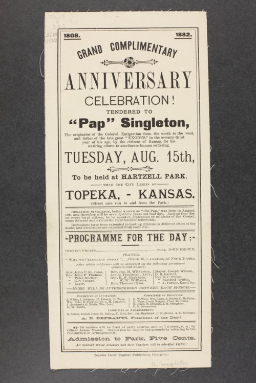 "Birthday programs for Benjamin ""Pap"" Singleton - Page"
