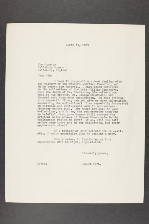 Robert Taft correspondence related to frontier artists, Moran - Reedy - Page