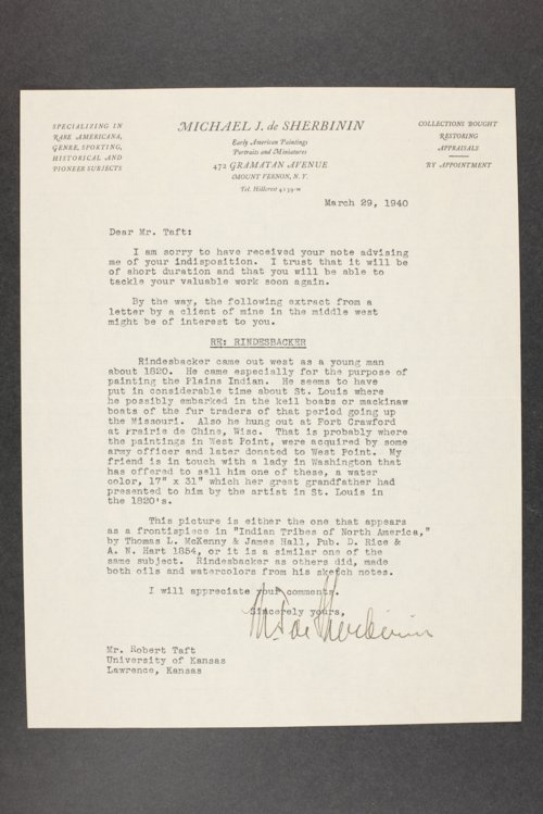 Robert Taft correspondence related to frontier artists, Rindesbacker - Schott - Page