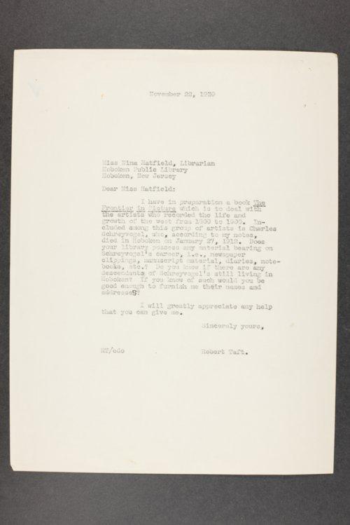 Robert Taft correspondence related to frontier artists, Schreyvogel - Sprague - Page
