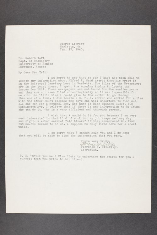 Robert Taft correspondence related to frontier artists, Waud - Zogbaum - Page