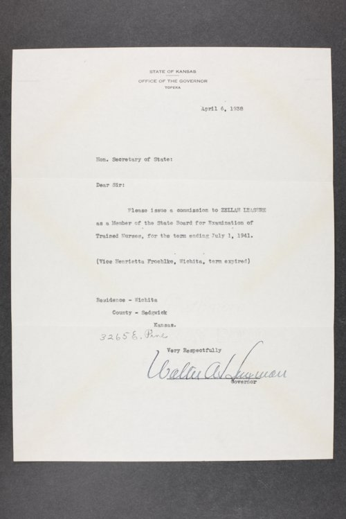 Governor Walter A. Huxman, correspondence files, box 3 - Page