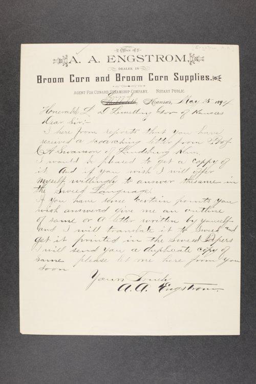 Governor Lorenzo Lewelling, Correspondence, Box 1 - Page