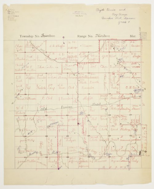 Roy Biays and Clyde Penix's map of of Township 14 South, Range 13 West, Russell County - Page