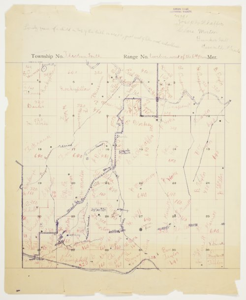 Joseph Shaffer and Clare Morton's map of Township 13 South, Range 12 West of Russell County - Page