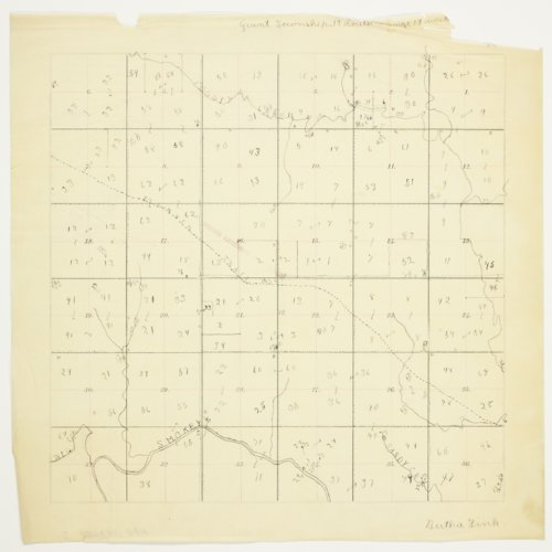 Bertha Fink's map of Township 14 South, Range 14 West, Russel County - Page