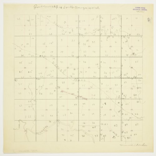 Minnie Strecker's map of Township 14 South, Range 14 West, Russell County - Page