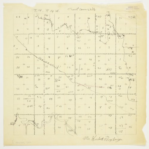 Herbert Boxberger's map of Township 14 South, Range 14 West, Russell County - Page