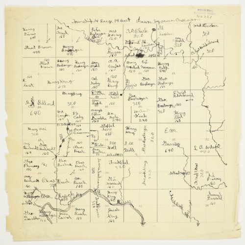 Owen Crissman's map of Township 14 South, Range 14 West, Russell County - Page