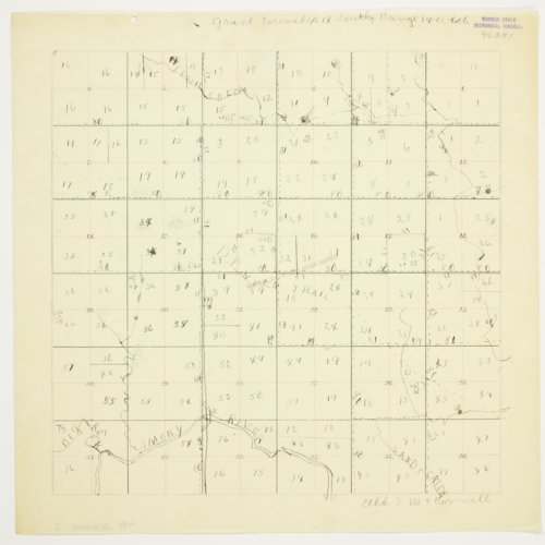 Ethel McConnell's map of Township 14 South, Range 14 West, Russell County - Page