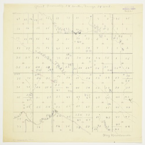 Fay Newcommer's map of Township 14 South, Range 14 West, Russell County - Page