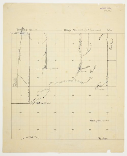 Helen Milton's map of Township 15 South, Range 12 West, Russell County - Page