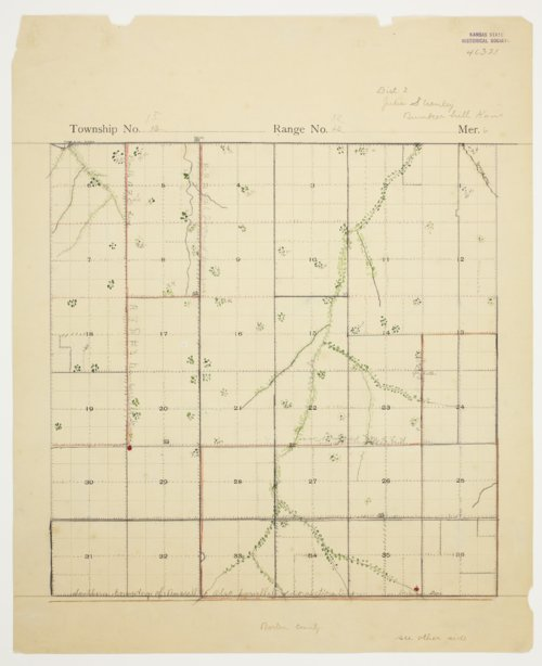 Julia Stienley's map of Township 15 South, Range 12 West, Russell County - Page
