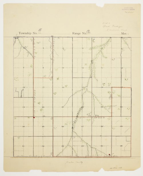 Fred Prediger's map of Township 15 South, Range 12 West, Russell County - Page