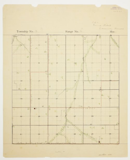 Emma Bunker's map of Township 15 South, Range 12 West, Russell County - Page