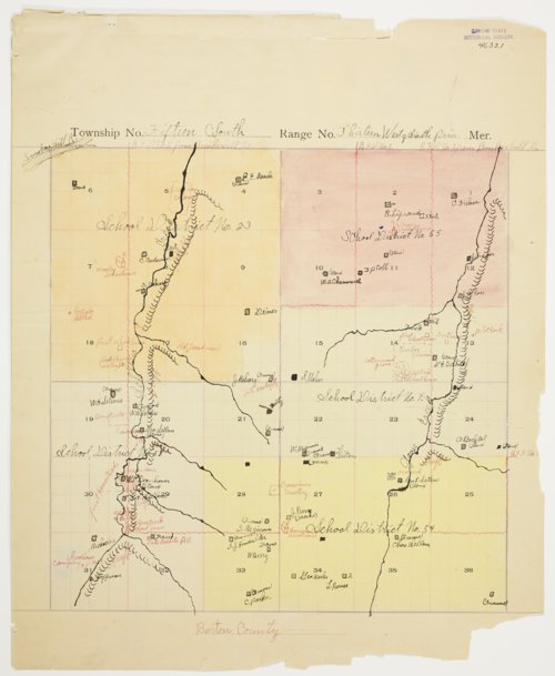 Clyde Markley's map of Township 15 South, Range 13 West, Russell County - Page