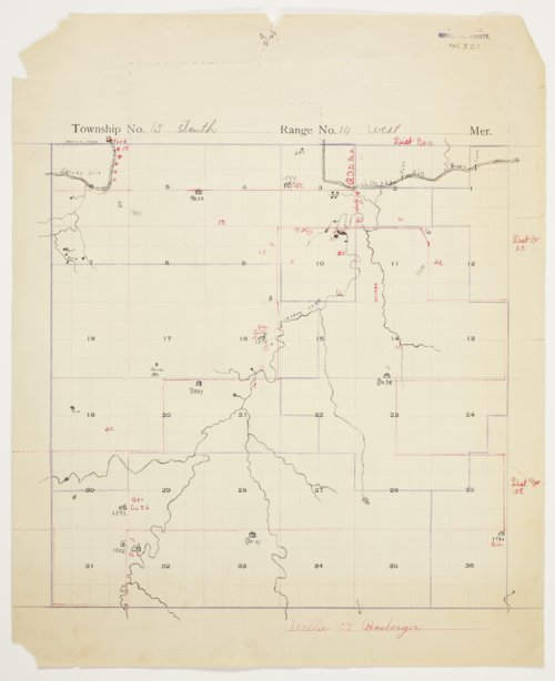 Willie G. Boxberger's map of Township 15 South, Range 14 West, Russell County - Page