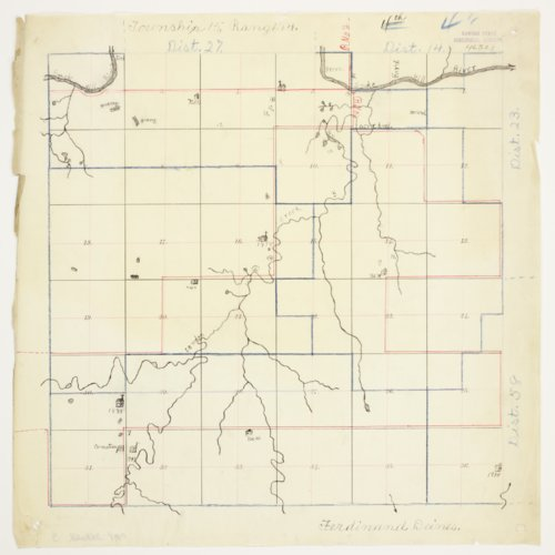 Ferdinand Deines' map of Township 15 South, Range 14 West, Russell County - Page