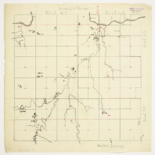 Ralph Deines' map of Township 15 South, Range 14 West, Russell County - Page