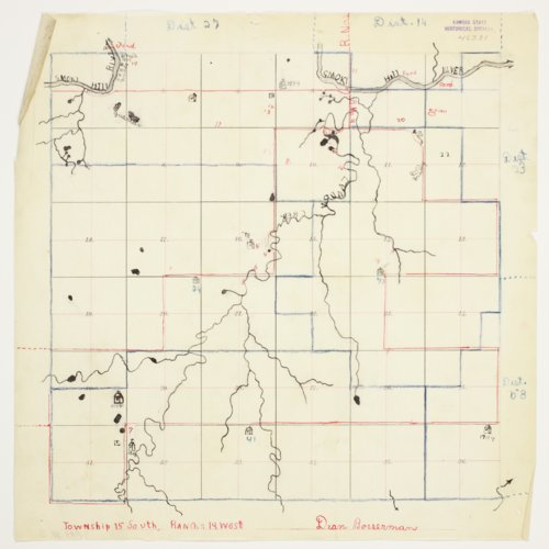 Dean Bosserman's map of Township 15 South, Range 14 West, Russell County - Page