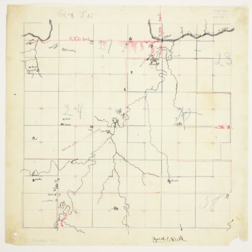 Jacob E. Diel's map of Township 15 South, Range 14 West, Russell County - Page