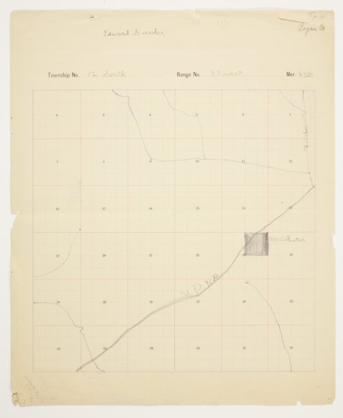Edward Snider's map of Township 12 South, Range 37 West, Logan County - Page