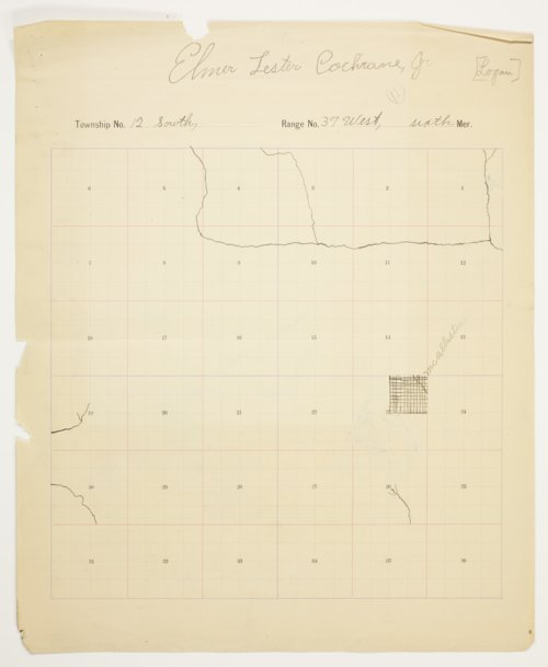 Elmer L. Cochrane's map of Township 12 South, Range 37 West, Logan County - Page
