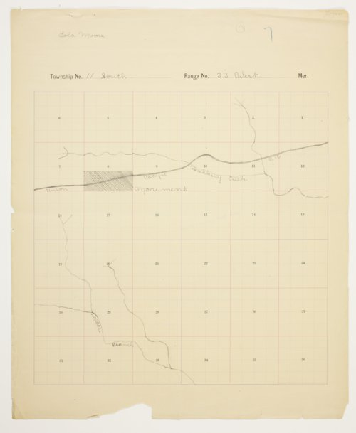 Lola Moore's map of Township 11 South, Range 33 West, Logan County - Page