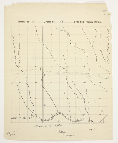 Florence A. Tilton's map of Township 14 South, Range 23 West, Trego County - Page