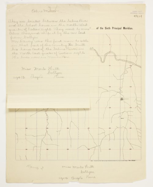 Merle Hitt's map of Township 11 South, Range 25 West, Trego County - Page