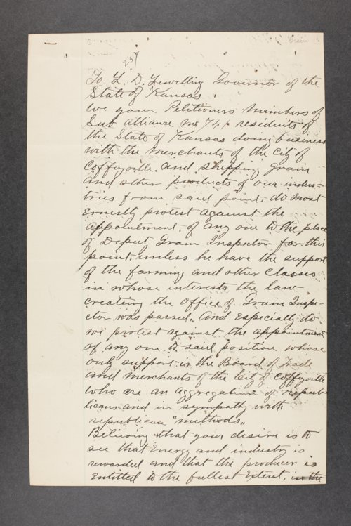 Governor Lorenzo Lewelling, Correspondence, Box 2 - Page