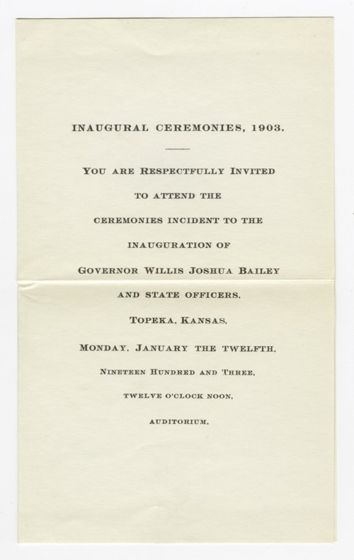 Invitation, ticket, and program  for Governor Willis Joshua Bailey's inaugural - Page