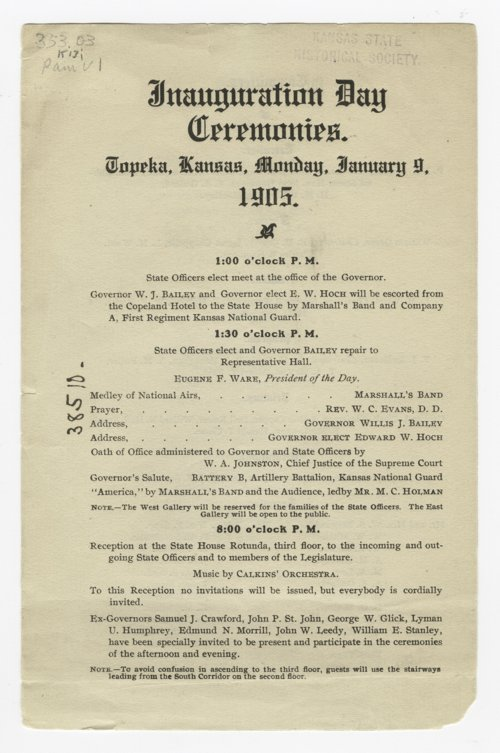 Program for Governor Edward Wallis Hoch's inauguration day ceremonies - Page
