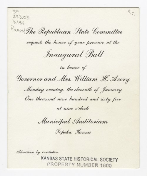 Invitation to Governor William H. Avery's inaugural ball at the Municipal Auditorium in Topeka, Kansas - Page