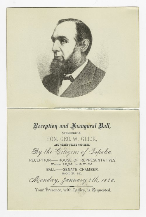 Invitation to Governor George Washington Glick's inaugural reception and ball - Page