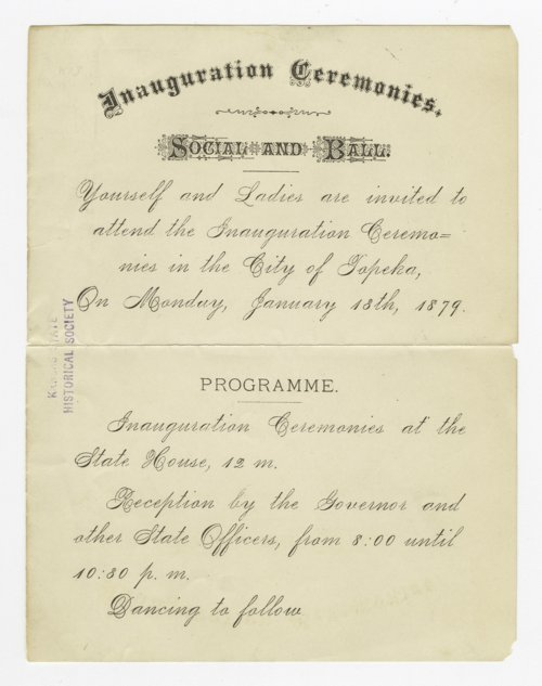 Invitation to Governor John Pierce St. John's inauguration ceremonies - Page