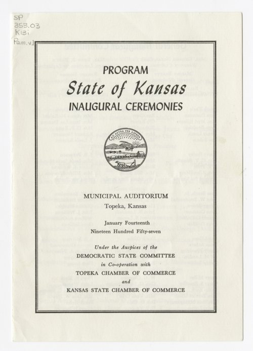 Program for Governor George Docking's inauguration - Page