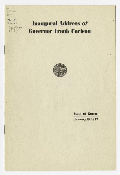 Inaugural address of Governor Frank Carlson - Page
