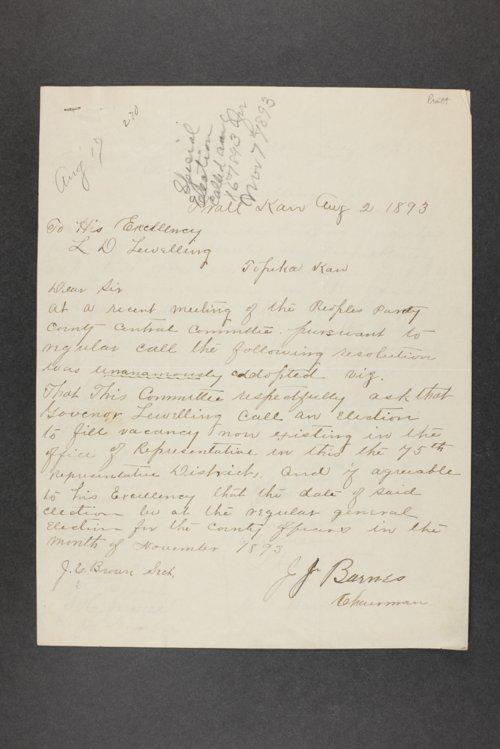 Governor Lorenzo Lewelling, Correspondence, Box 3 - Page