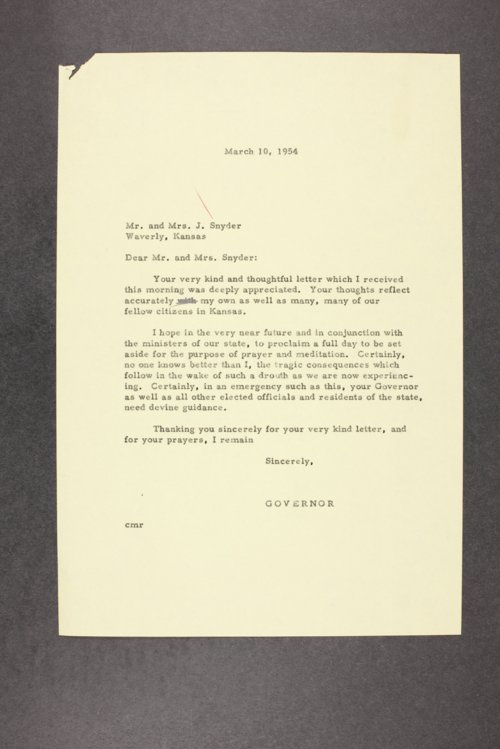 Governor Edward Arn, correspondence files, box 55 - Page
