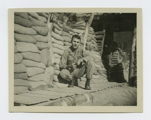 Frank Darrell Timken by a bunker during the Korean War - Page