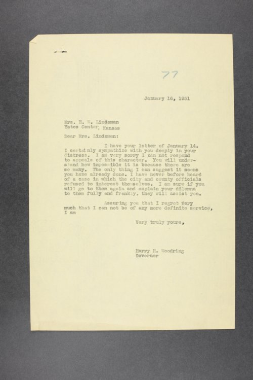 Governor Harry H. Woodring, Correspondence Files, Box 19 - Page