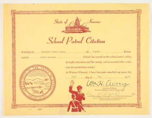 Marilyn Lopez, school patrol citation, Topeka, Kansas - Page